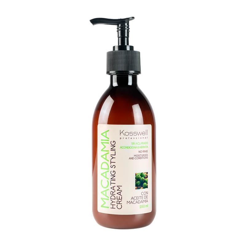 Kosswell Macadamia Hydrating Styling Cream 250ml, krem do włosów z olejkiem macadamia